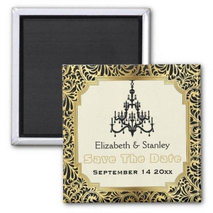 Art Deco chandelier wedding Save the Date Magnets