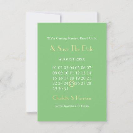 Art Deco Classy Green Gold Wedding Save The Date