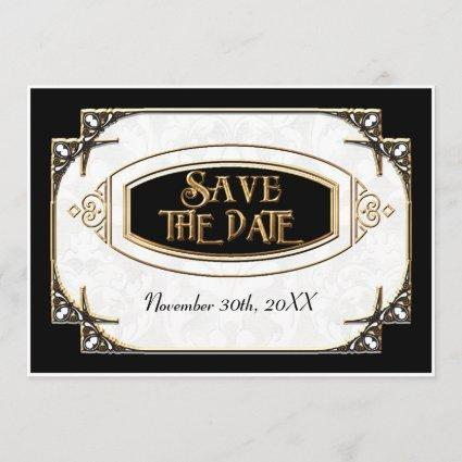 Art Deco Great Gatsby Style Typography n Lace Gold Save The Date