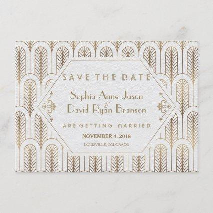 Art Deco Great Gatsby White Gold Save The Date