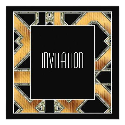 Art Deco Invitation Gold Black