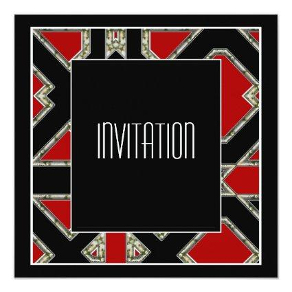 Art Deco Invitation Red Black