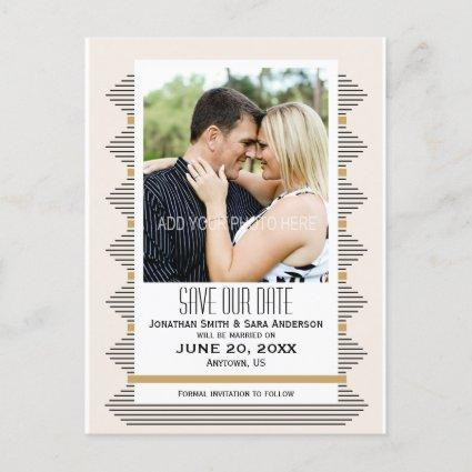 Art Deco Lines, Gold & Black Photo Save The Date Announcement