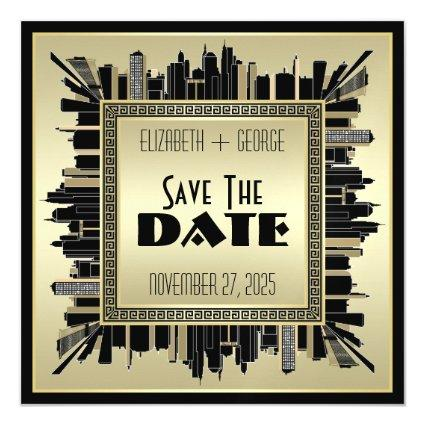 Art Deco Save the Date Champagne Gold Great Gatsby Magnetic Invitation