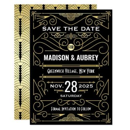 Art Deco Save the Date Wedding Elegant Gold Black Invitation