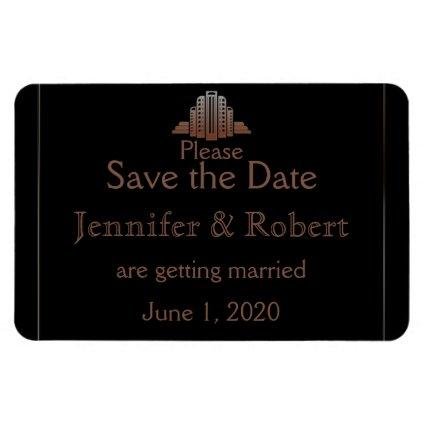 Art Deco Tower Wedding Save the Date Magnet