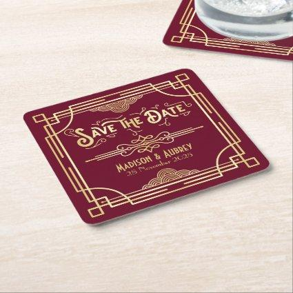 Art Deco Wedding Gold Burgundy Save the Date Square Paper Coaster