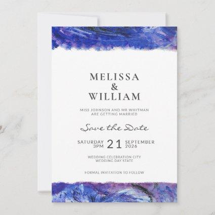 Art Wedding Blue Save The Date
