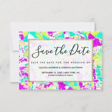 Artsy Modern Abstract Neon Acrylic Paint Splatter Save The Date