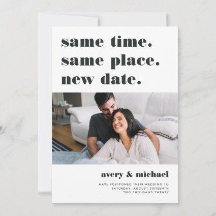 Ash | Modern Wedding Postponement Photo Save The Date