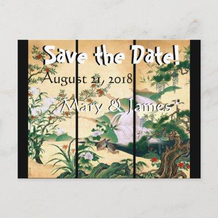 Asian Wisteria Dove Birds Save the Date Cards