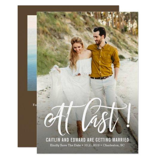 At Last EDITABLE Background Color Save The Date Card