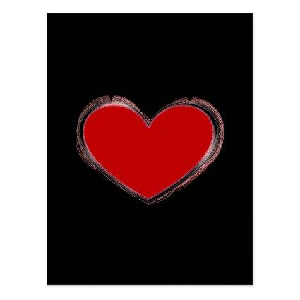 Attractive Red Heart Black Pop Art Love Cards