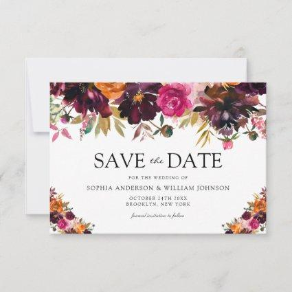 Autumn Burgundy Watercolor Flowers Fall Wedding Save The Date