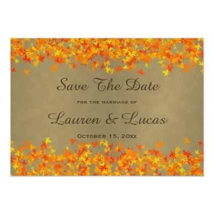 Autumn Fall Color Leaves Save The Date Wedding Magnetic Invitation