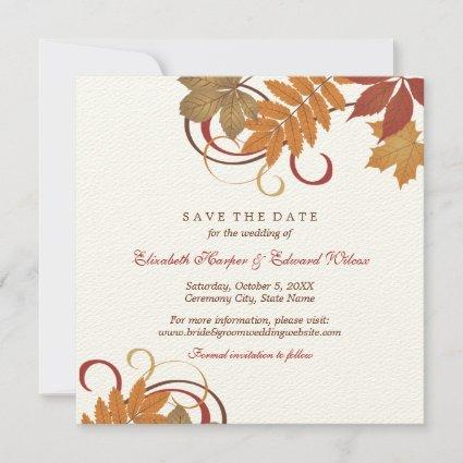 Autumn Falling Leaves | Wedding Save The Date