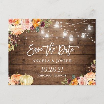 Autumn Floral Pumpkins String Lights Save the Date Invitation