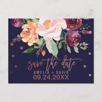 Autumn Floral Rose Gold Save the Date Announcements Cards