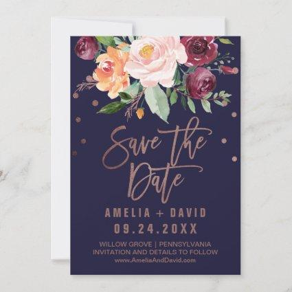 Autumn Floral | Rose Gold Save the Date Cards