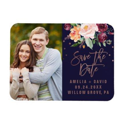 Autumn Floral Rose Gold Save the Date Magnets