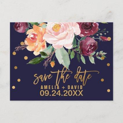 Autumn Floral Save the Date Announcement