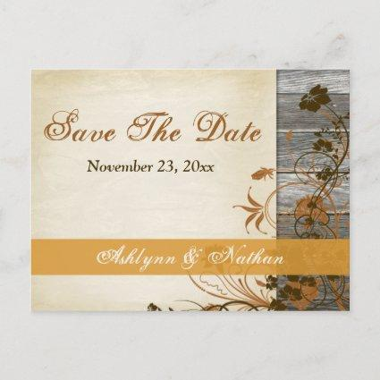 Autumn Flowers, FAUX Wood Save the Date Post Cards