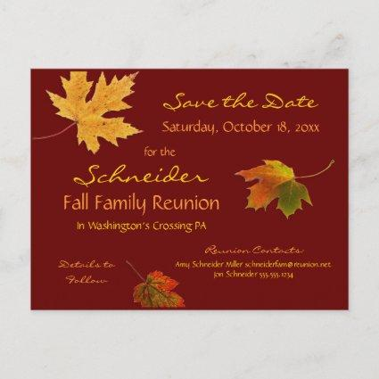 Autumn Leaves Reunion, Party, Event Save the Date Announcement