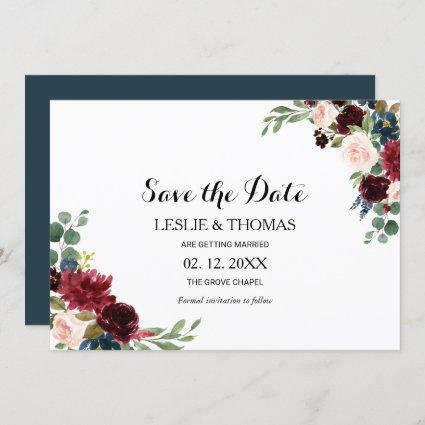 Autumn Rustic Burgundy Wedding Save the Date Invitation