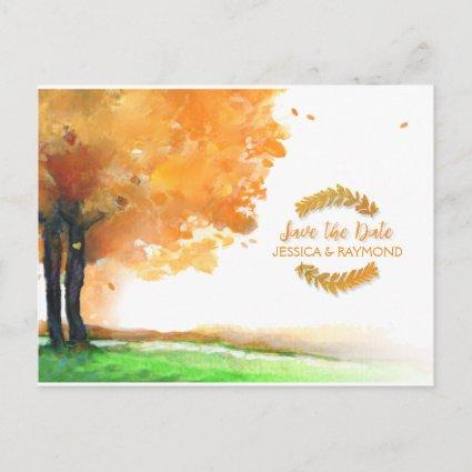 Autumn Trees Fall Save the Date Matching