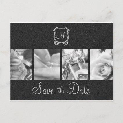 B&W Motorcycle Photos Save the Date Announcement