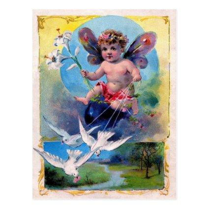 BABY FAIRY WITH DOVES