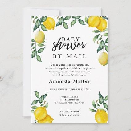 Baby Shower by mail with watercolor lemons Save The Date