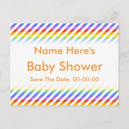 Baby Shower. Stripes with Rainbow Colors. Announcement