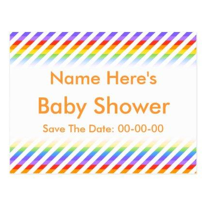 Baby Shower. Stripes with Rainbow Colors. Cards