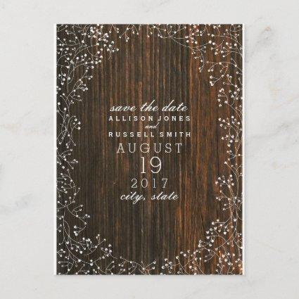 Baby's Breath Barnwood Inspired Save The Date Announcement