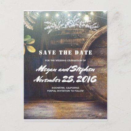 Baby's Breath Barrel Rustic Country Save the Date Announcement