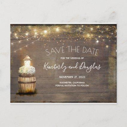 Baby's Breath Floral Lantern Rustic Save the Date Announcement