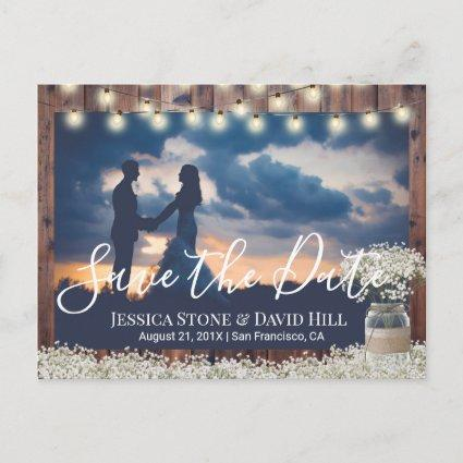 Baby's Breath Floral Wedding Photo Save the Date Announcement