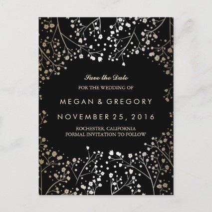 baby's breath gold and black save the date announcement