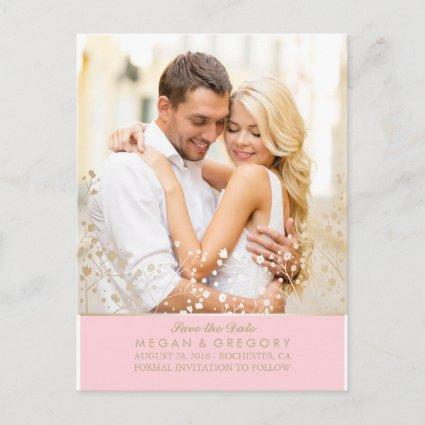baby's breath gold and pink photo save the date announcement