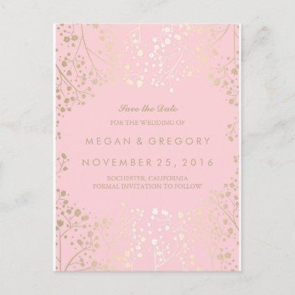 baby's breath gold and pink save the date announcement