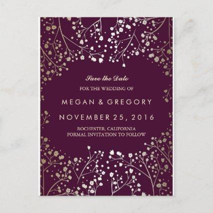 baby's breath gold and plum save the date announcement