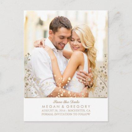 baby's breath gold and white photo save the date announcement