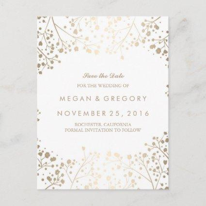 baby's breath gold foil effect save the date announcement