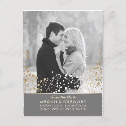 baby's breath gold foil photo save the date announcement
