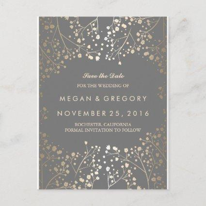 baby's breath gold foil save the date announcement