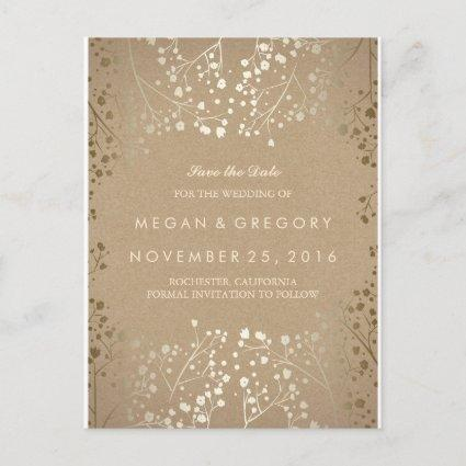 baby's breath gold kraft save the date announcement