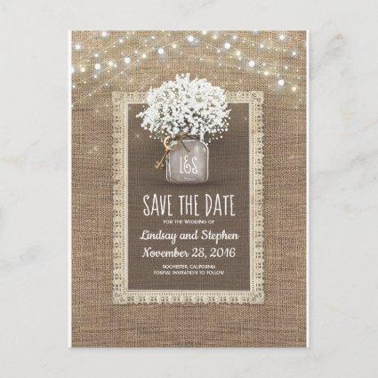 Baby's Breath Mason Jar Rustic Save the Date Announcement