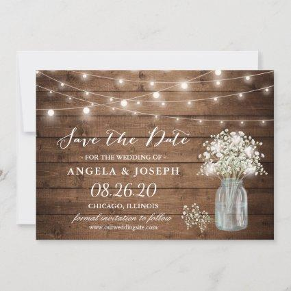 Baby's Breath Mason Jar String Lights Wedding Save The Date