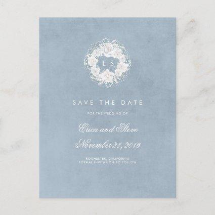 Baby's Breath Monogram Dusty Blue Save the Date Announcement
